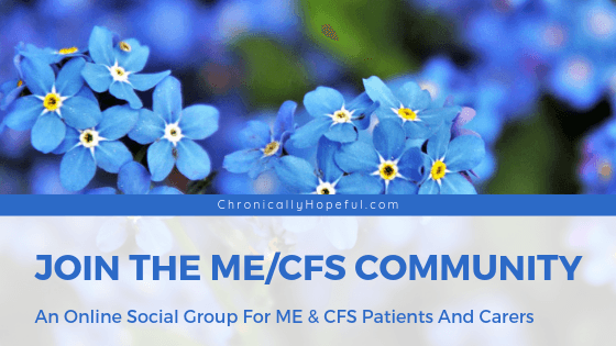 Title reads Join The MEcfs Community, Social group for ME & CFS patients and carers. Photo of blue forget-me-notspin by Chronically Hopeful