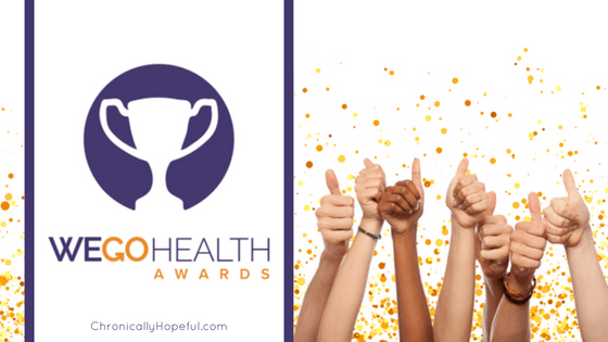 Lots of hands giving thumbs up with gold confetti falling down. Title Reads WEGO Health Awards, ChronicallyHopeful
