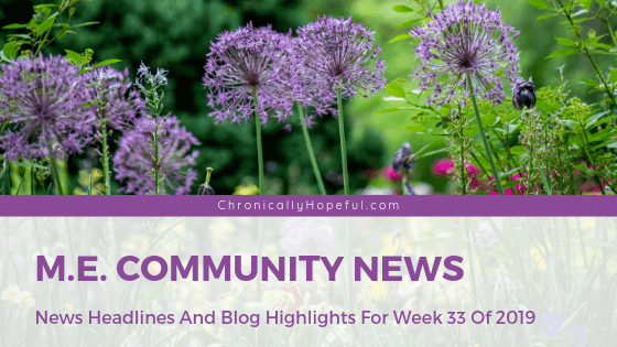 A picture of tall purple flowers in a garden. Title reads: ME community news. News headlines and blog highlights from week 33 of 2019