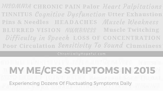 A long list of symptoms, title reads: my symptoms of ME/cfs in 2015. Dozens of fluctuating symptoms.