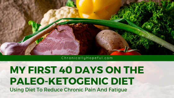 Meat and vegetables on a table. TItle reads: My first 40 days on the paleo-ketogenic diet. Using diet to manage my chronic pain and fatigue.