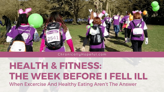 Title reads Health and fitness the week I fell ill with severe ME. Photo of Char and friends walking in a park wearing pink fluffy bunny ears and carrying green balloons. By Chronically Hopeful