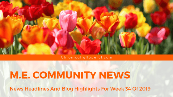 Picture of orange and red tulips. Title reads: M.E. community news. News headlines and blog highlights for week 34 of 2019