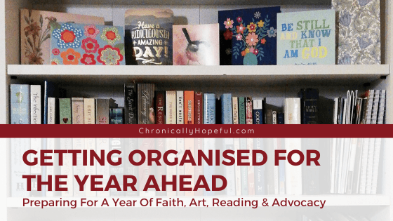 A photo of a bookshelf with books and greeting cards. Title reads: Getting organised for the year ahead.